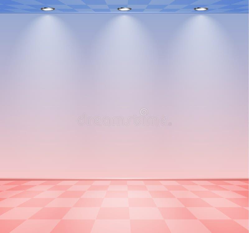 80s a dénommé la pièce de vague de vapeur avec le mur rose et bleu au-dessus du plancher vérifié illustration de vecteur