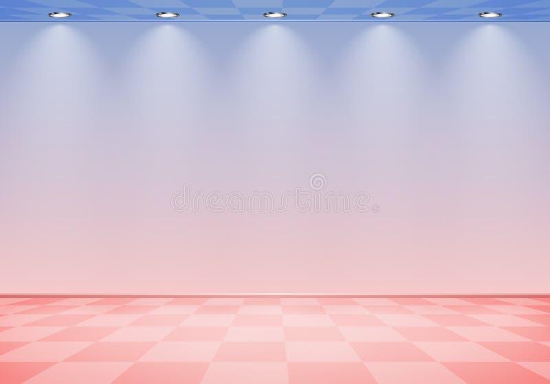 80s a dénommé la pièce de vague de vapeur avec le mur rose et bleu au-dessus du plancher vérifié illustration stock