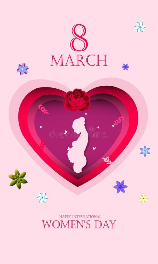 国际愉快的妇女的天 孕妇3月8日假日背景的剪影 从数字工艺的纸艺术3d 向量例证