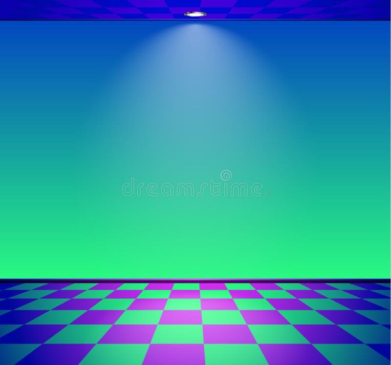 80s a d?nomm? la pi?ce de vague de vapeur avec le mur bleu et vert au-dessus du plancher v?rifi? illustration de vecteur