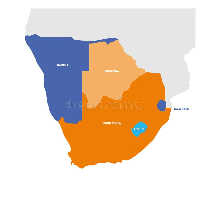 S?dafrika-Region Karte von L?ndern im s?dlichen Afrika Auch im corel abgehobenen Betrag vektor abbildung