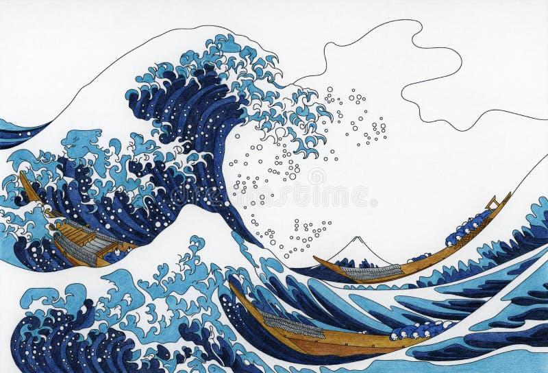 ` S de Hokusai a grande onda da página adulta da coloração de Kanagawa ilustração royalty free