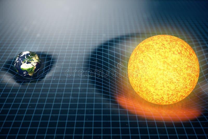 ` s de la tierra del ejemplo 3D y espacio de las curvas de la gravedad de Sun alrededor de él con efecto del bokeh La gravedad de stock de ilustración