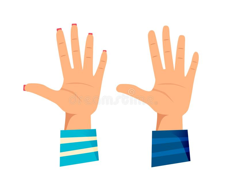 ` S de los hombres y manos del ` s de las mujeres con gestos Dando el alto cinco, stock de ilustración