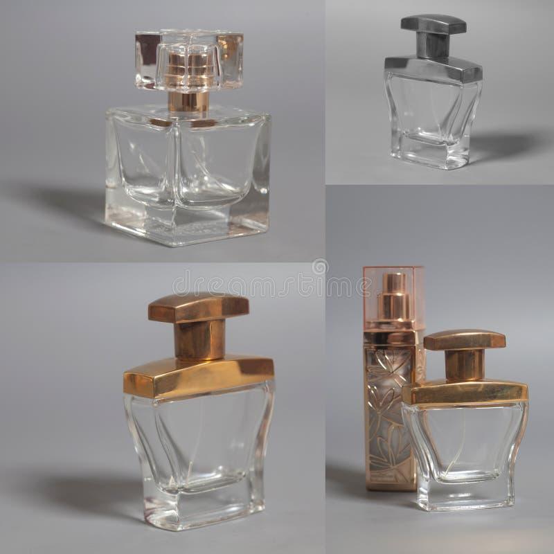 ` S de los hombres y perfume de la mujer en collage de las botellas fotos de archivo