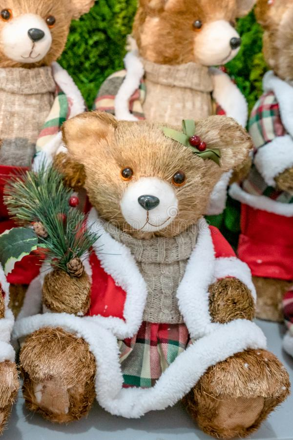 Colorful portrait of puppet doll toy teddy bears, dressed like Santa Claus stock photography