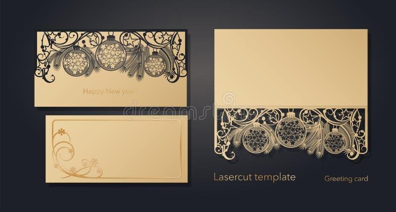 ` S del Año Nuevo y la Navidad Plantilla de la tarjeta de felicitación del laser, invitaciones para los acontecimientos del Año N libre illustration
