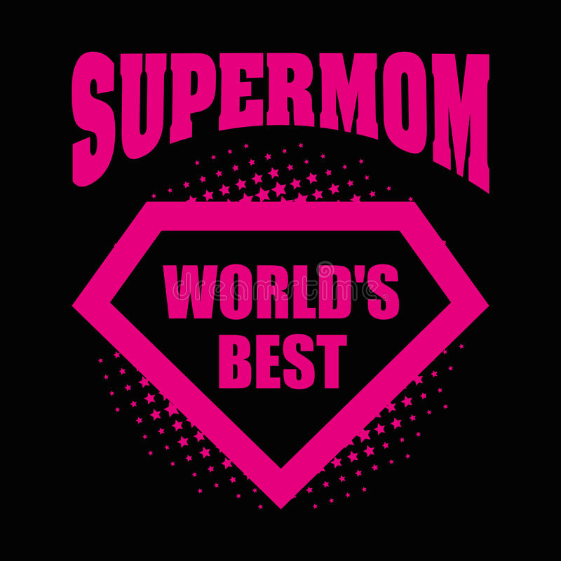 ` S del mondo del supereroe di logo del Supermom la cosa migliore illustrazione vettoriale
