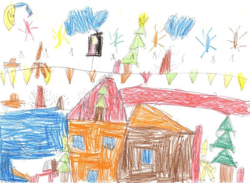 ` S del niño que dibuja a una familia feliz stock de ilustración