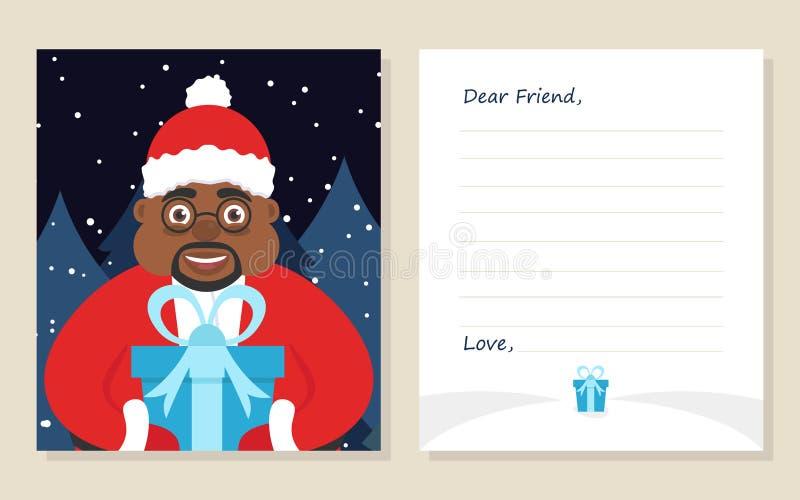 ` S del nuovo anno della cartolina d'auguri del modello o lettera di Buon Natale al caro amico royalty illustrazione gratis