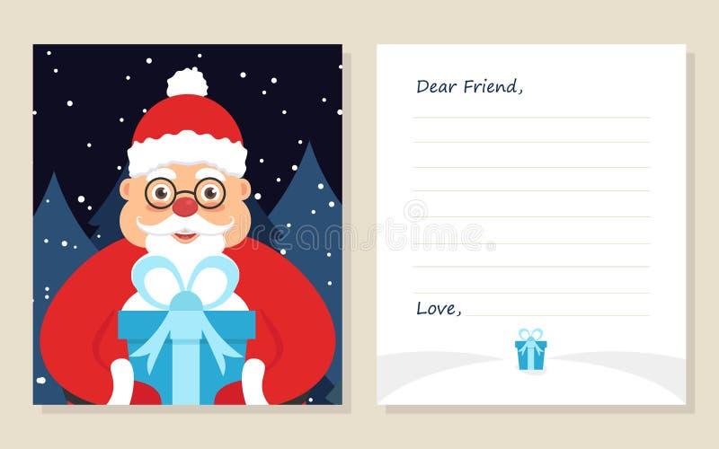 ` S del nuovo anno della cartolina d'auguri del modello o lettera di Buon Natale al caro amico illustrazione vettoriale