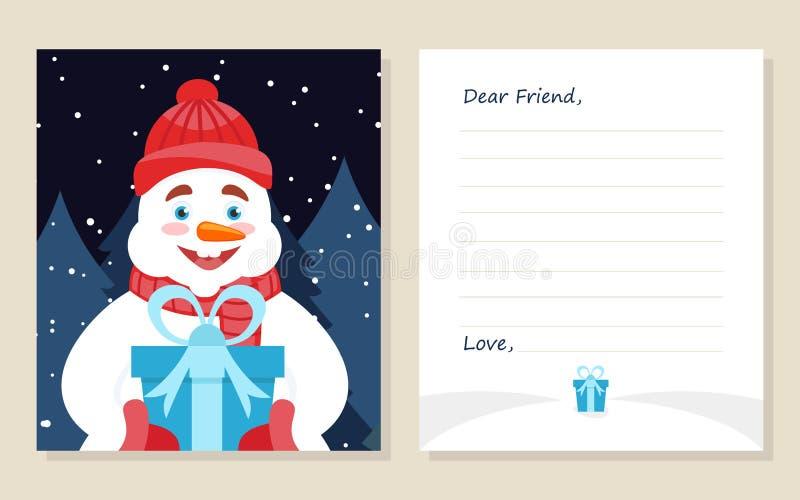 ` S del nuovo anno della cartolina d'auguri del modello o lettera di Buon Natale al caro amico Pupazzo di neve sveglio con il reg illustrazione di stock
