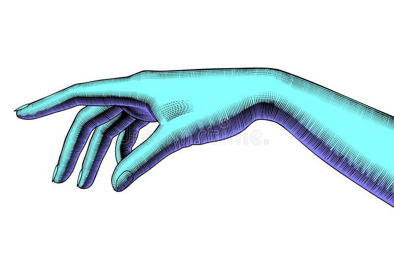 ` S della donna che indica mano illustrazione vettoriale