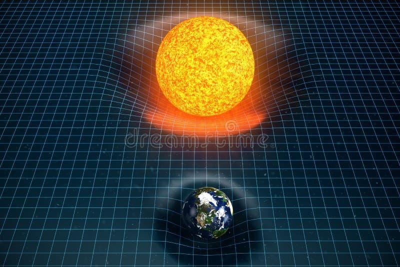 ` s della terra dell'illustrazione 3D e spazio delle curvature di gravità di Sun intorno  con effetto del bokeh La gravità di con royalty illustrazione gratis