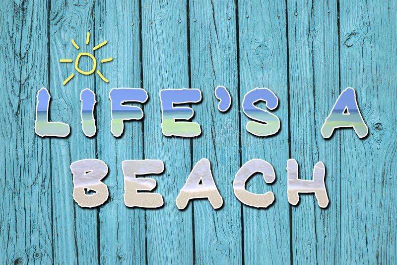 ` S di vita una citazione motivazionale della spiaggia fotografia stock libera da diritti