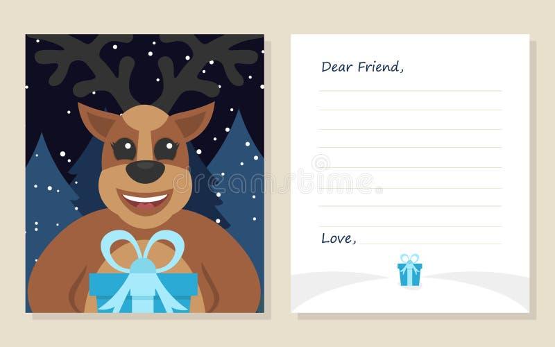 ` S do ano novo do cartão do molde ou letra do Feliz Natal ao caro amigo ilustração do vetor