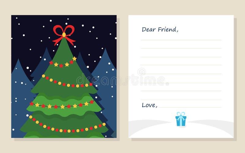 ` S do ano novo do cartão do molde ou letra do Feliz Natal ao caro amigo Pinheiro bonito com presente Ilustração do vetor D liso ilustração stock