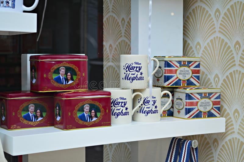 @s do príncipe Harry e do Meghan Markle Wedding Souvenir foto de stock