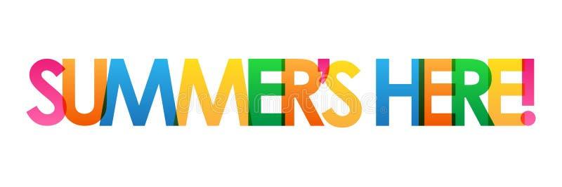 ` S DO VERÃO AQUI! bandeira de sobreposição colorida do vetor das letras ilustração do vetor