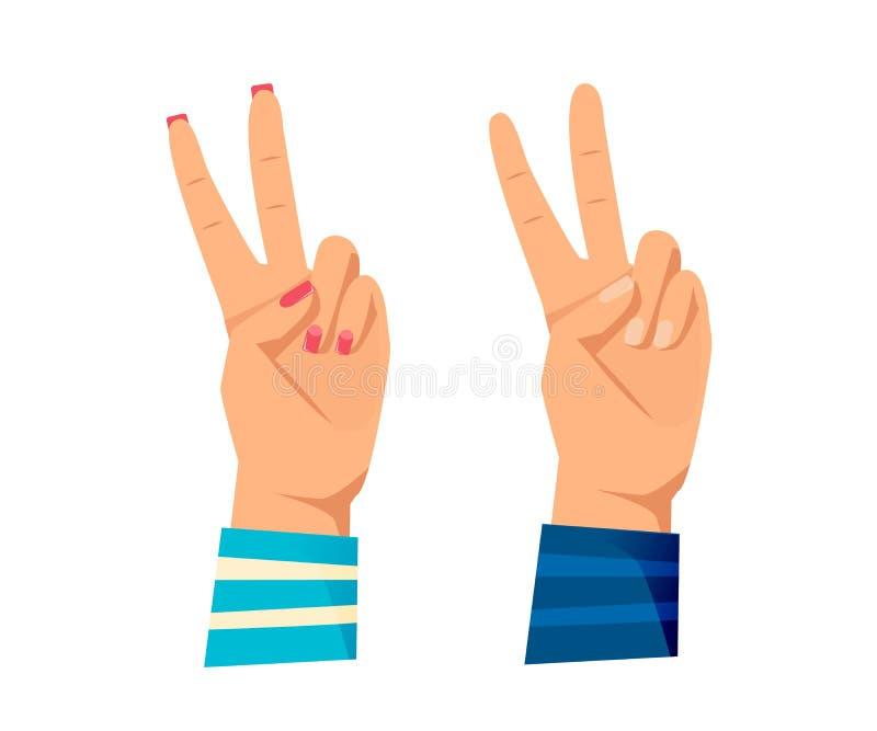 ` S dos homens e mãos das mulheres s com gestos Assine tudo certo, ilustração do vetor