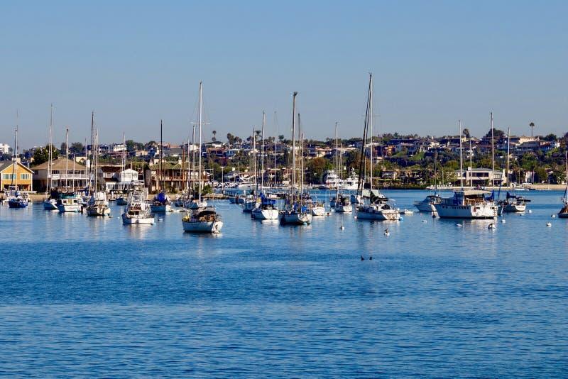 Sailboats moored in Newport Beach Harbor royalty free stock photo