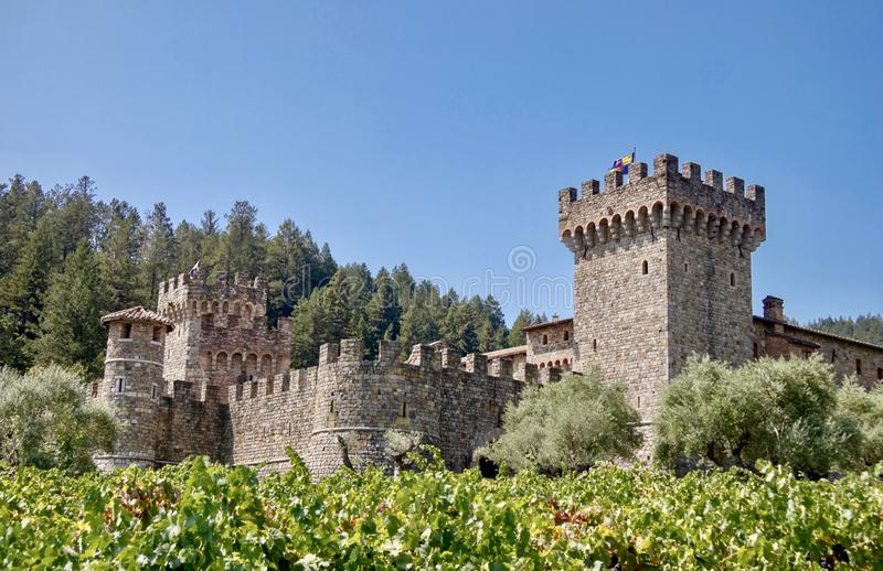 Castello di Amorosa in Calistoga California. The exterior of Castello di Amorosa winery in Calistoga California.  This beautiful Tuscan inspired castle is a stock photo