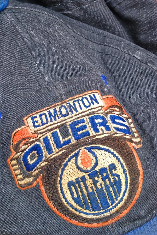 1980`s Edmonton Oilers snapback cap. An old and worn Edmonton Oilers ice hockey team snapback cap stock photos