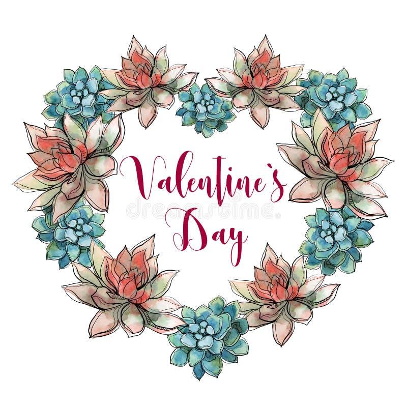 006s el día de los epsValentine Corazón suculento Tarjeta del día de fiesta valentine watercolor Vector ilustración del vector