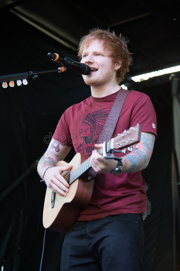 170.9's EndFest 2014. ROSEVILLE, CA - May 11: Ed Sheeran performs in support of Sacramento radio station 107.9's EndFest at Placer County Fairgrounds in stock photography