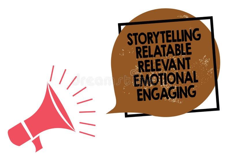 S'engager émotif approprié racontable de fabulation d'écriture des textes d'écriture Loudsp de mégaphone de contes de souvenirs d illustration stock