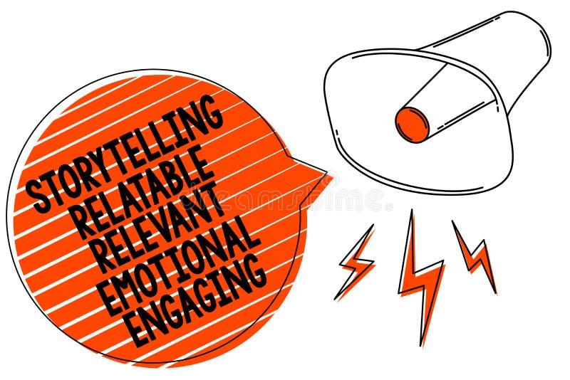 S'engager émotif approprié racontable de fabulation d'écriture des textes d'écriture Loudsp de mégaphone de contes de souvenirs d illustration de vecteur