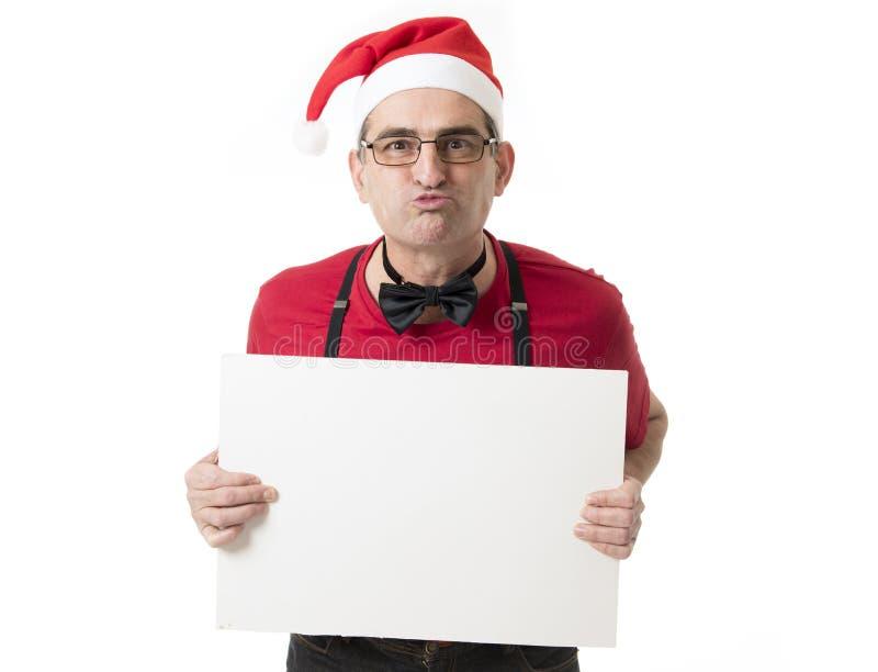 40s engraçado ao homem louco das vendas 50s no chapéu de Santa Christmas com BO fotografia de stock royalty free