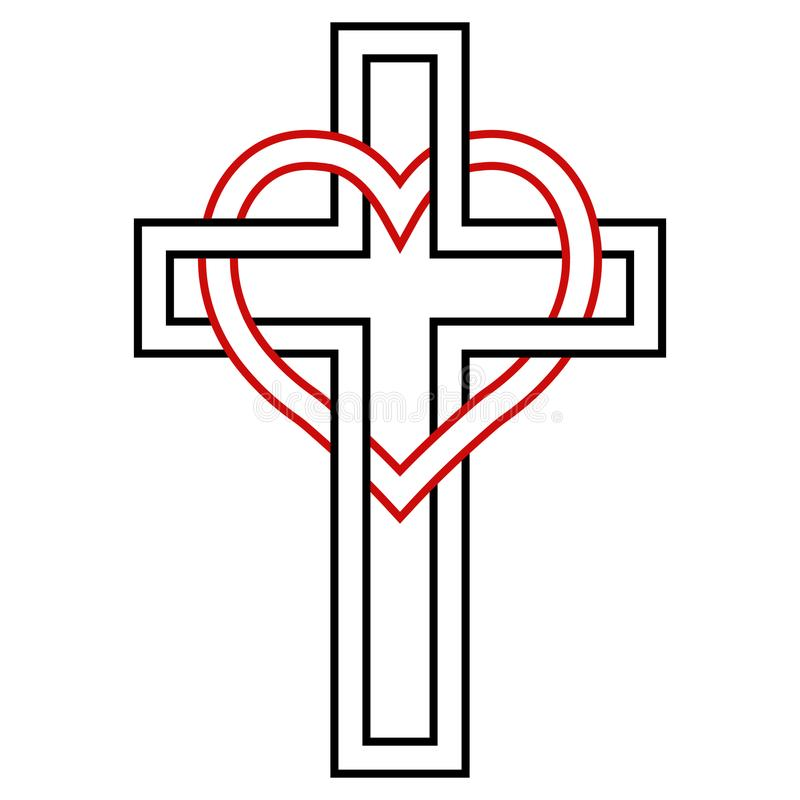 S'entrelacer du coeur et de la croix de chrétien, symbole de vecteur de la foi et amour à Dieu Symbole chrétien illustration de vecteur