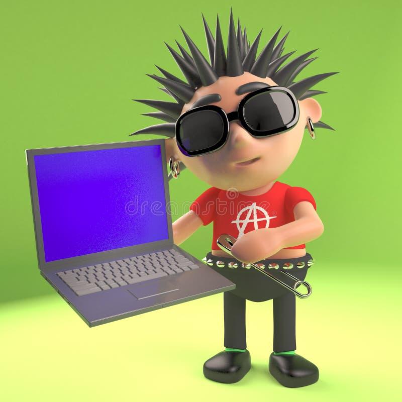 S'est technologiquement occupé du rocker punk utilisant son nouvel ordinateur portable, l'illustration 3d illustration de vecteur