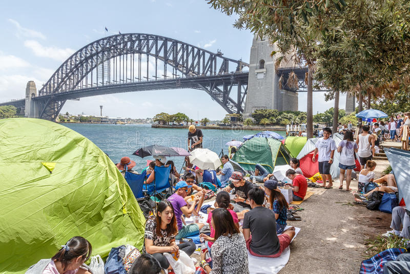 ` S EVE del nuovo anno a Sydney Harbour fotografie stock