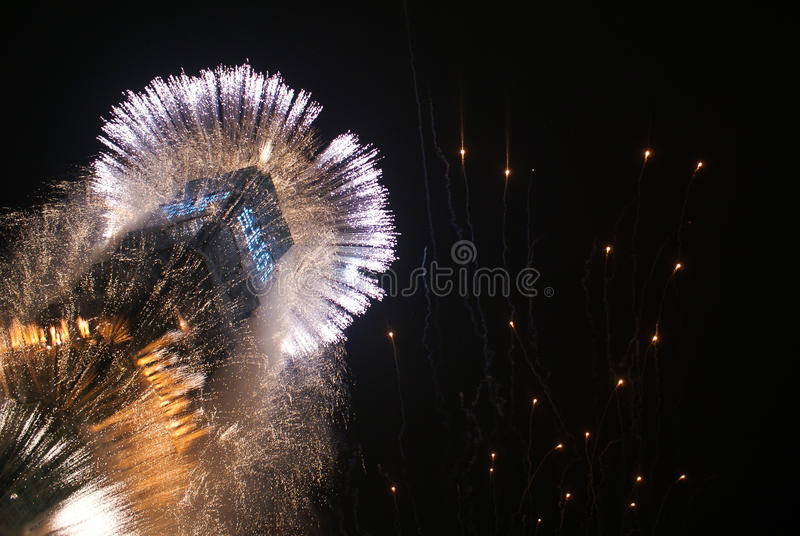 ` S Eve Fireworks del Año Nuevo imágenes de archivo libres de regalías