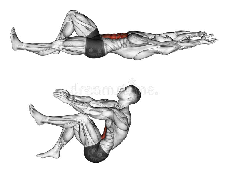 s'exercer Flexion du tronc avec la traction de jambes illustration stock