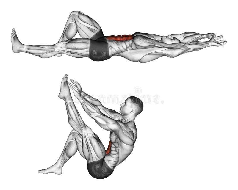 s'exercer Flexion du tronc avec les jambes tirant vers le haut la jambe illustration stock