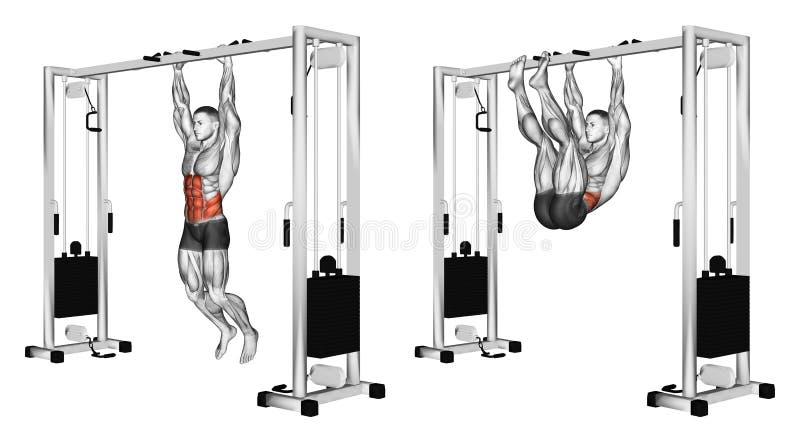 s'exercer Traction des jambes aux bras accrochant sur la barre transversale illustration stock