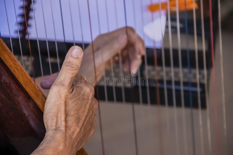 ` S för äldre kvinna räcker att spela harpan - närbild och selektiv fokus - musik på ställningen som är suddig i bakgrund som bes royaltyfri foto