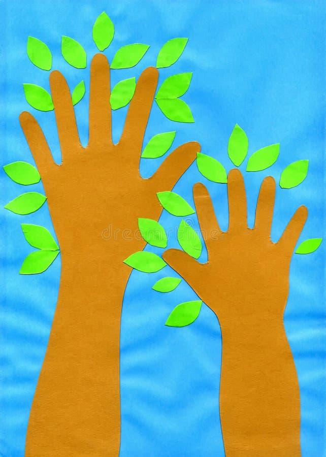` S för barn för ` för applikationen för barn` s räcker träd`-papper, papp royaltyfri illustrationer