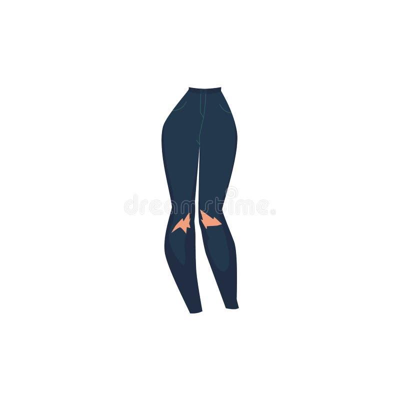 ` S för kvinnor för jeans för grov bomullstvill för plan tecknad film för vektor sjaskig stock illustrationer