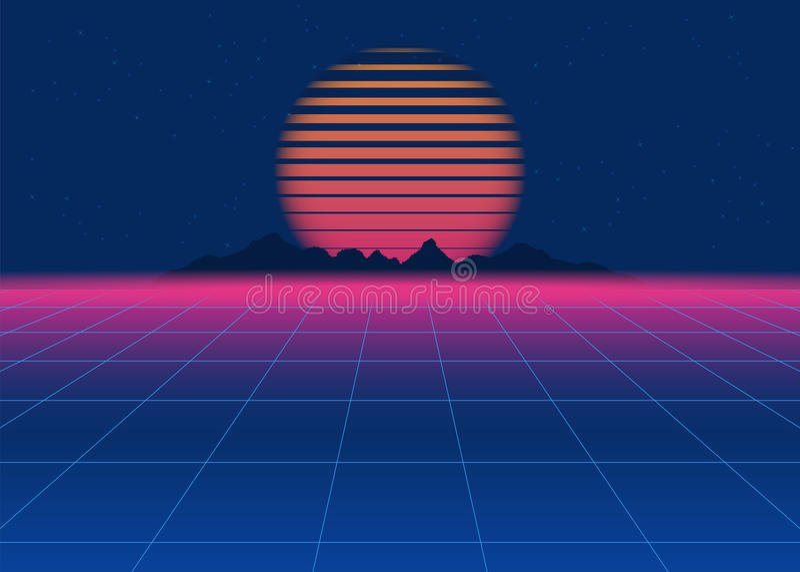 80s fantastyka naukowa Retro tło Retro futurystyczny tło, synth retro fala ilustracji