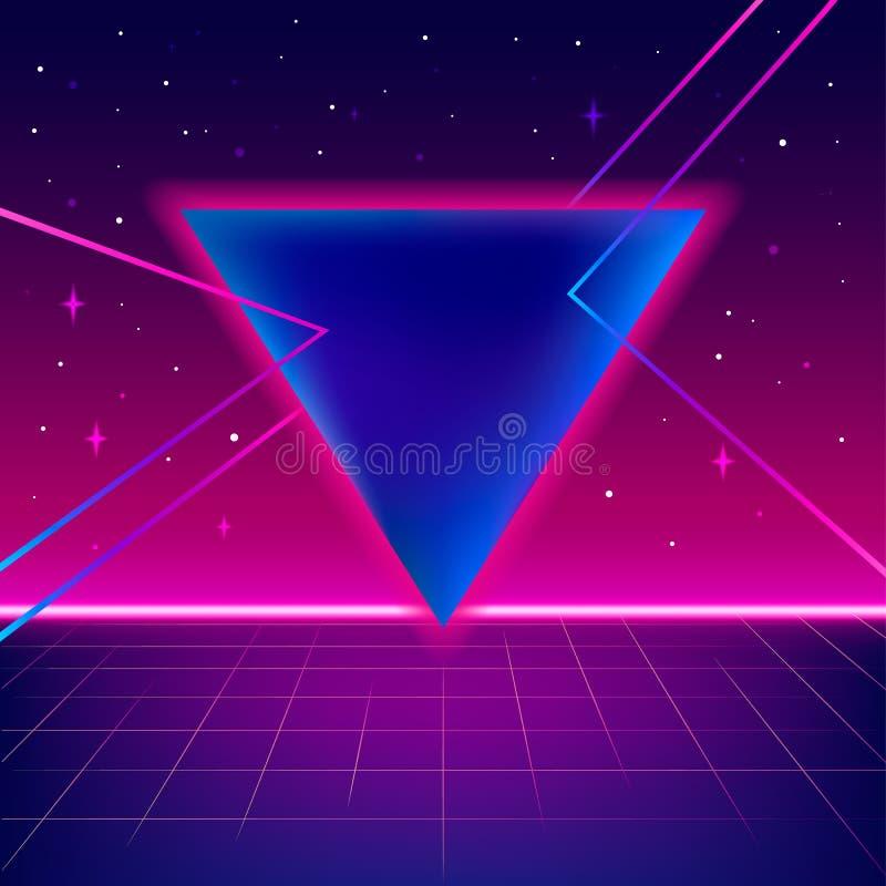 80s fantastyka naukowa tło z perspektywiczną siatką royalty ilustracja