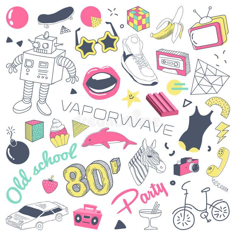 80s Fashion Hand Drawn Doodle with Skateboard, Lips and Sunglasses. Teenager Style Freehand Elements Set stock illustration