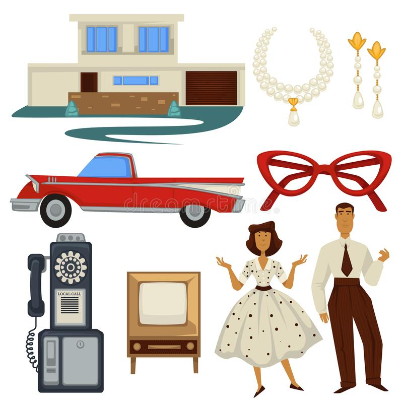 1950s fashion style and architecture, epoch symbols, technology and car stock illustration