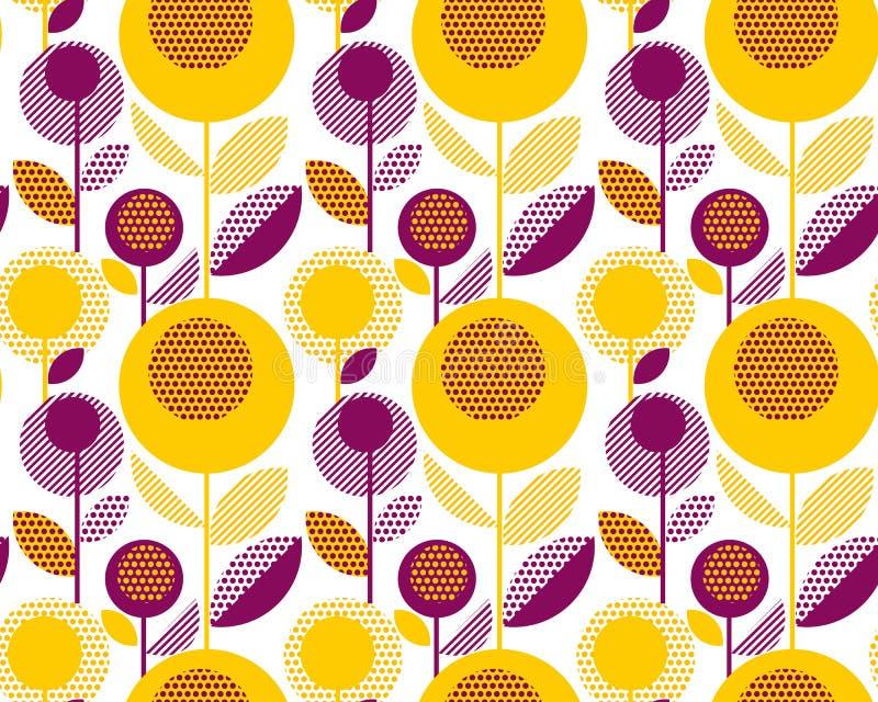 60s floral retro pattern. geometry decorative style. Vintage flower seamless motif. vector illustration vector illustration