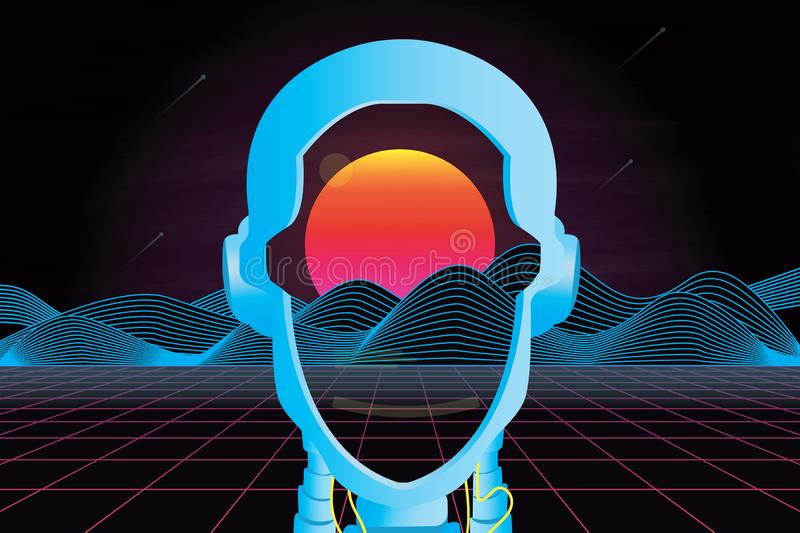 80`s futuristic retro landscape with robot head, sun and mountain. Vector illustration royalty free stock photos