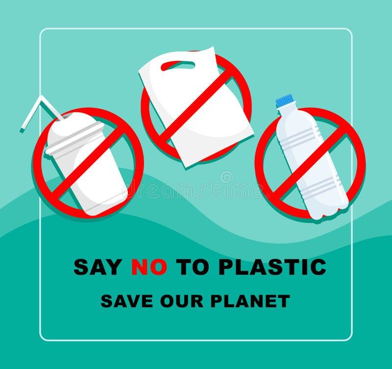 S?g INTE till plast- begreppsbakgrund Vektorillustrationen sparar v?r planet royaltyfri illustrationer