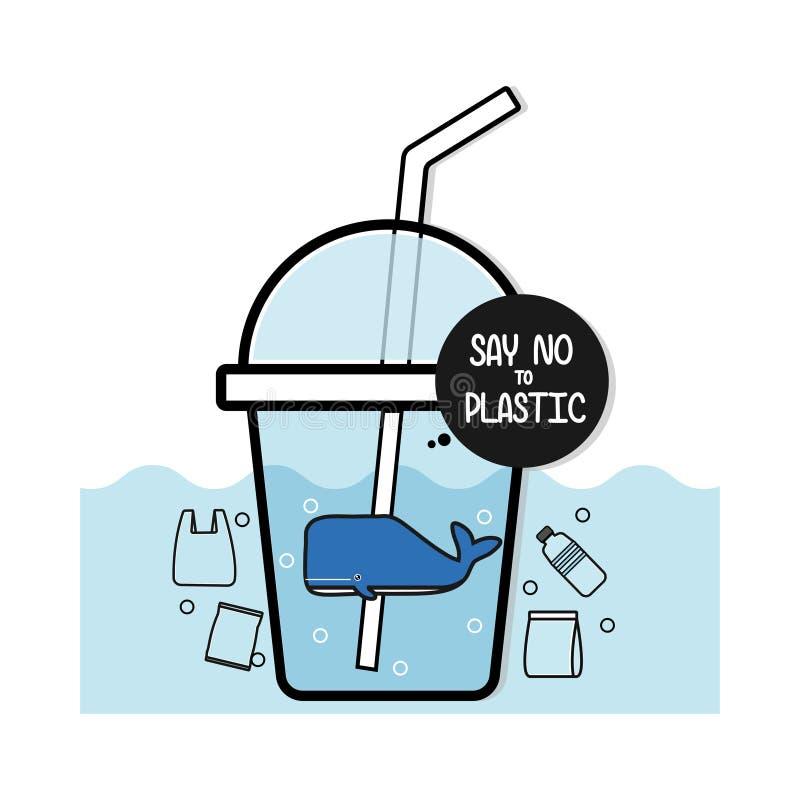 S?g inte till plast- F?roreningproblembegrepp royaltyfri illustrationer